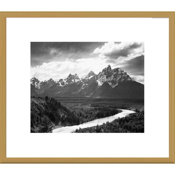 Ansel Adams 'View from river valley towards snow covered mountains, river in foreground, Grand Teton