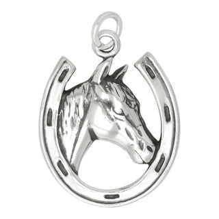 Sterling Silver Horse in Horseshoe Charm (22 x 18 mm)