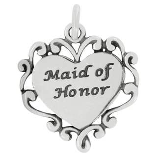 Sterling Silver Maid of Honor Heart Charm (18 x 17 mm)