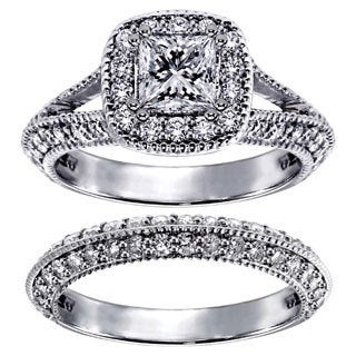14k White Gold 2 2/5ct TDW Princess-cut Diamond Halo Bridal Ring Set (G-H, SI1-SI2)