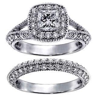 Platinum 2 2/5ct TDW Princess-cut Diamond Bridal Ring Set (G-H, SI1-SI2)