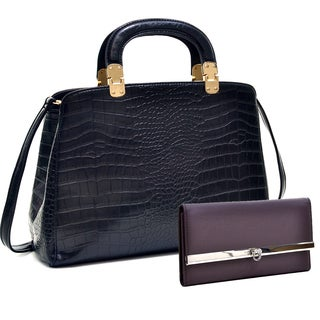 Dasein Faux Croc Hinge Handle Briefcase w/Removable Shoulder Strap & Checkbook Wallet