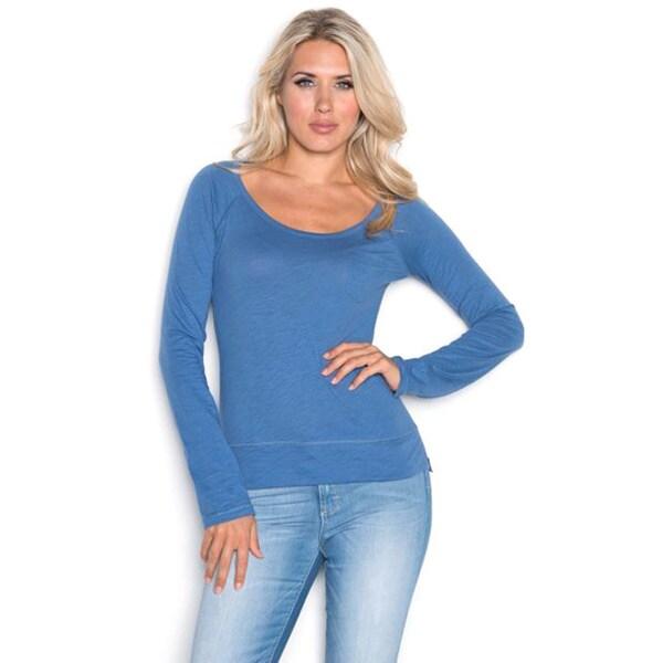 Beam Women's Medium Blue Shirt Long Sleeve