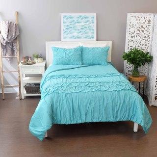 Vue Rowan Solid Aqua Textured Cotton 3-piece Duvet Set