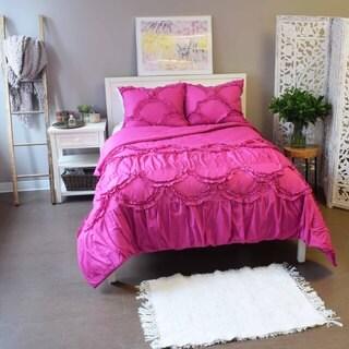 Vue Sienna Solid Fuchsia Textured 3-piece Duvet Set