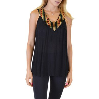Women's Black/Orange/Yellow Rayon Sleeveless Loose Fitting V-Neck Top