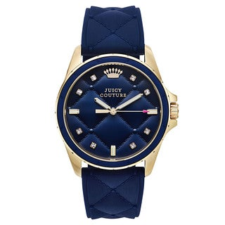 Juicy Couture Women's Blue Rubber and Goldtone Japanese Quartz Watch