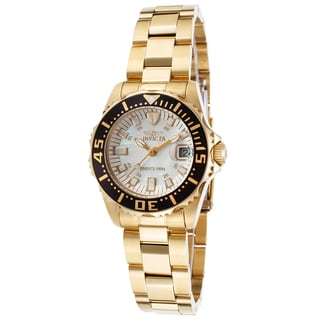 Invicta Women's Pro Diver 18K Gold Plated Steel Mother of Pearl Watch
