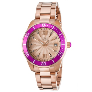 Invicta Women's 18k Rosetone Gold Plated Watch with Bright Pink Bezel