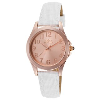 Invicta Women's Angel White Genuine Leather Rose-Tone Dial Watch