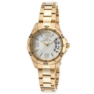 Invicta Women's Specialty 18K Gold Plated Mother of Pearl Dial Watch