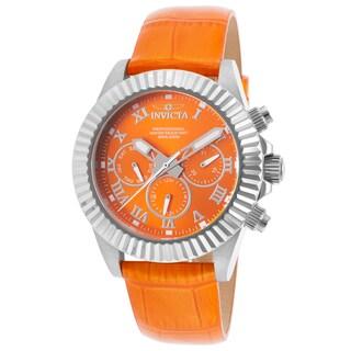 Invicta Women's Pro Diver Orange Genuine Leather and Silver-Tone Watch