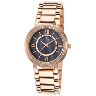 Lucien Piccard Alice Rose-Tone Stainless Steel Black Mother of Pearl Dial Watch