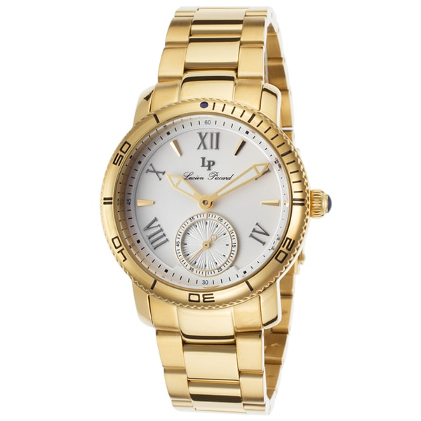 Lucien Piccard Misty Rose Gold-Tone Stainless Steel Silver-Tone Dial Watch 38mm Size(As Is Item)