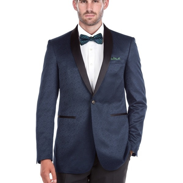 Verno Men's Shawl Collar Blue Textured Tuxedo Slim Fit Blazer