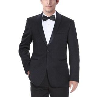 Verno Men's Shawl Collar Black Textured Tuxedo Slim Fit Blazer