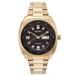 Seiko Men's SNKM98 Automatic Goldtone Watch with Skeleton Back and Date Window