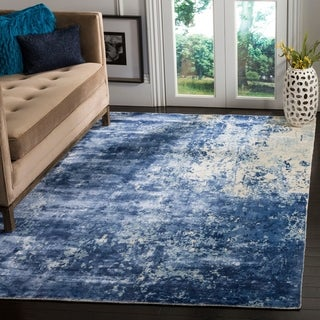 Safavieh Hand-knotted Mirage Watercolor Vintage Dark Blue Wool Rug (9' x 12')