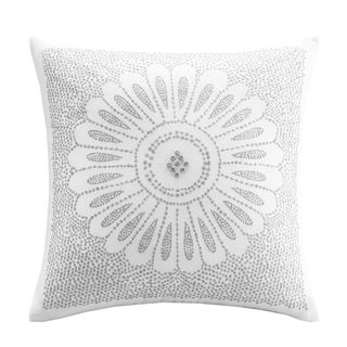 The Curated Nomad Natoma Grey Embroidered Cotton Decorative Pillow
