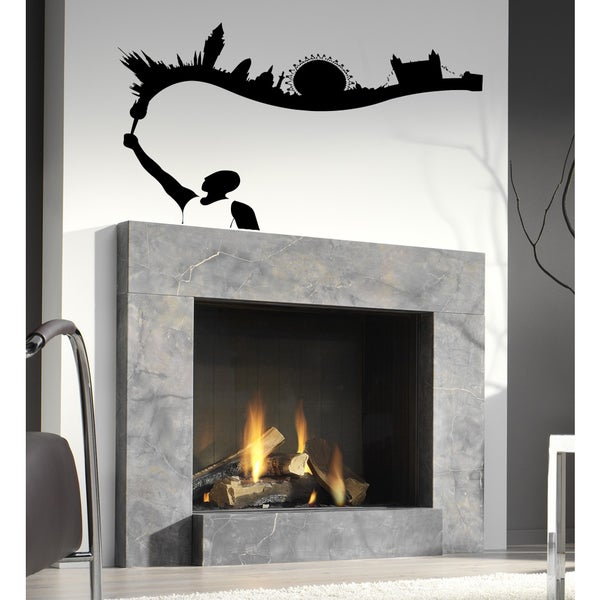 Athlete sport Olympic flame landscape of the city Wall Art Sticker Decal