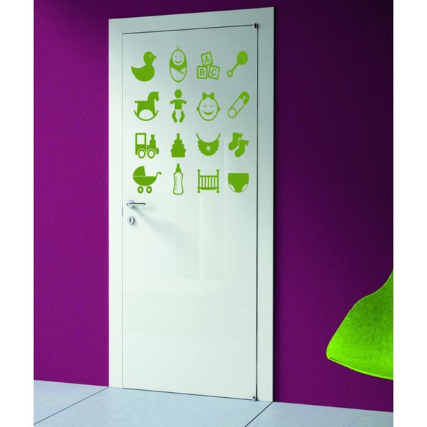 Kids toys ABC strller baby bottle cot Wall Art Sticker Decal Green