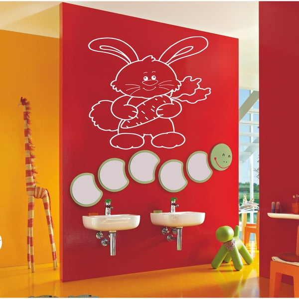 Rabbit with carrot Wall Art Sticker Decal White