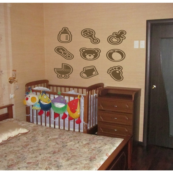 Kids toys baby bottle cot nipple Wall Art Sticker Decal Brown