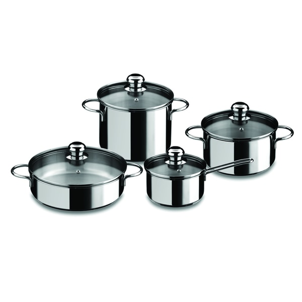 Mepra Black Stainless Steel 8-piece Cooking Pot Set