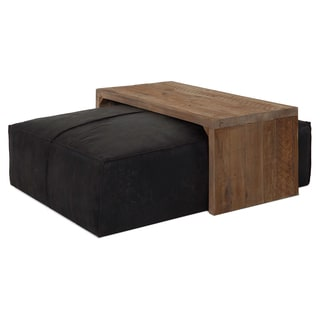 Decenni Passerella Black Chenille Fabric Ottoman and Reclaimed Wood Bench