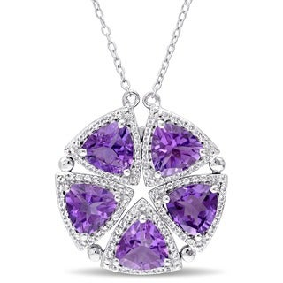 Miadora Sterling Silver Trilliant-cut African Amethyst and White Topaz Vintage Flower Necklace