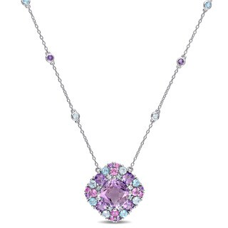 Miadora Sterling Silver Cushion-cut Amethyst Created Pink Sapphire Sky and Swiss Blue Topaz Halo Station Necklace