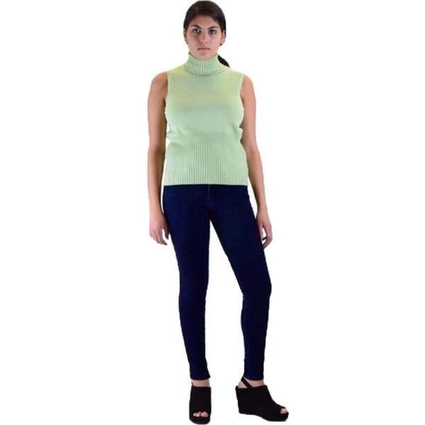 Skinny Fit French Terry Jegging and Sleeveless Turtle Neck Sweater 2-piece Outfit 18299031