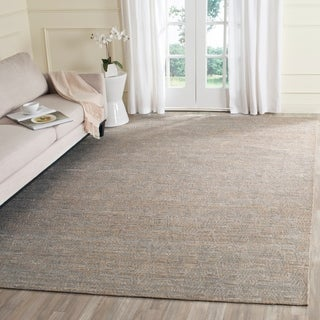 Safavieh Hand-Woven Cape Cod Grey/ Sand Cotton Rug (9' x 12')