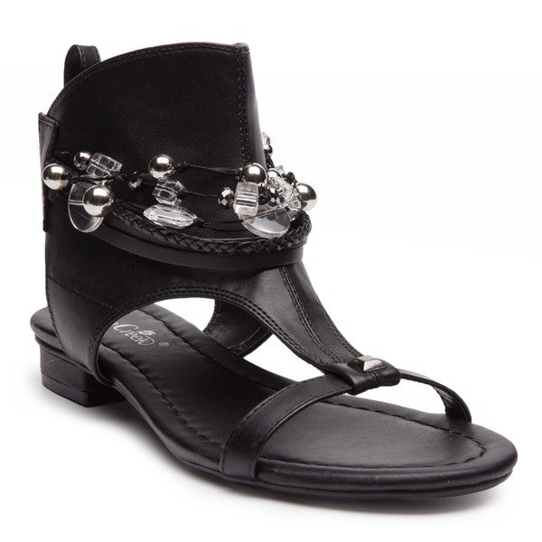 Ann Creek Women's'Elwood' Black/White Faux-leather Festival Sandals