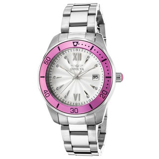 Invicta Women's Pro Diver Stainless Steel Silver-Tone Dial Pink Bezel Watch