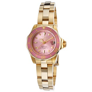 Invicta Women's Pro Diver 18K Gold Plated Stainless Steel Pink Dial Watch