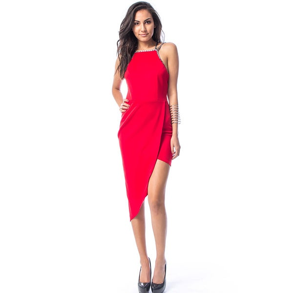 JED Women's Asymmetric Tank Wrap Clubwear Party Red/Black Polyester/Spandex Evening Dress
