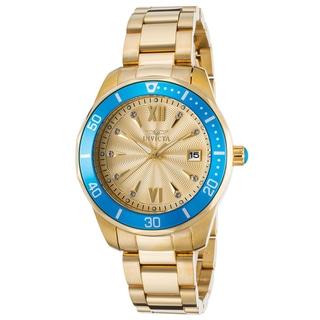 Invicta Women's Pro Diver 18K Gold Plated Blue Bezel Watch