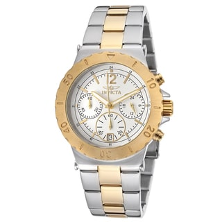 Invicta Women's Specialty Chrono Two-Tone 18k Gold Plated White Dial Watch