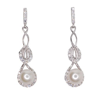 Kabella Sterling Silver Freshwater Pearl and Cubic Zirconia Dangling Earrings (6mm)