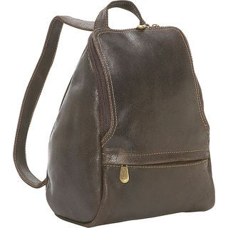 LeDonne Distressed Leather Mini Backpack with U-Zip