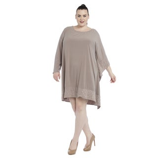 R&M Richards Taupe Polyester/Spandex Plus-size Poncho Dress