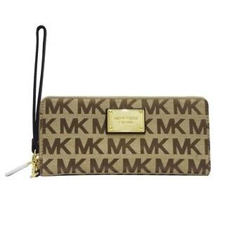 Michael Kors Jet Set Travel Beige/Ebony Nylon 8.5 inch x 4 inch x 1.25 inch Continental Wallet