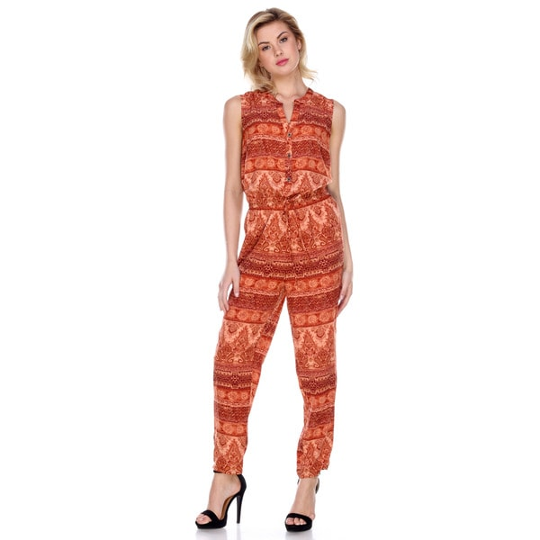 Stanzino Women's Coral Polyester Sleeveless Printed Jumpsuit