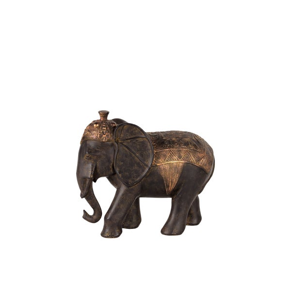Skillfully Sculpted Resin Blanket Elephant In Black & Brass (Small) 18299707