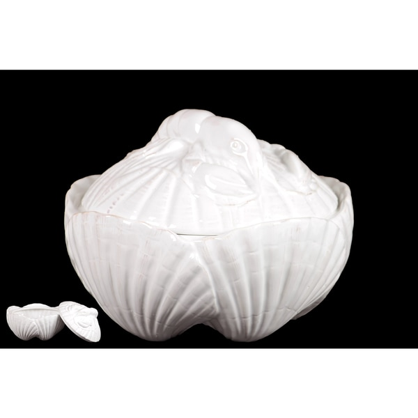 Ceramic Seashell Container With Magnificently Sculpted Lobster On The Lid In White