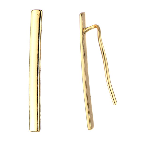 Brass Gold Bar Ear Cuff Earrings