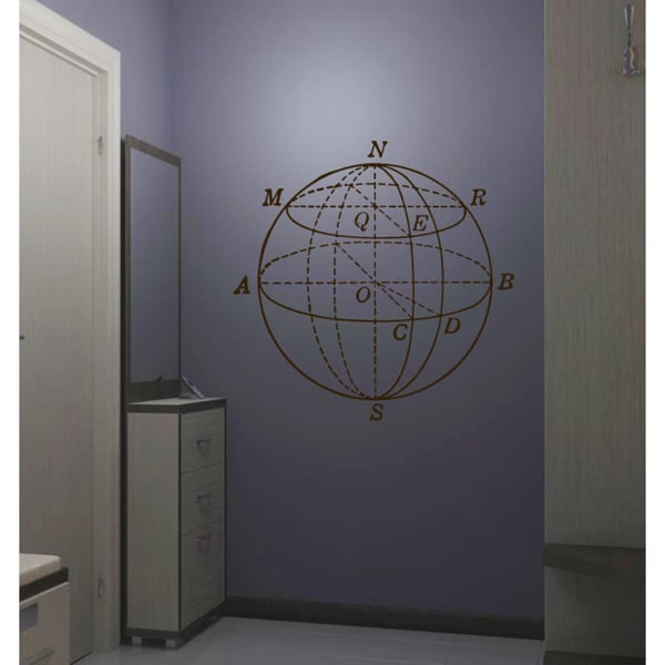 North West South East planet Earth compass Wall Art Sticker Decal Brown