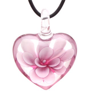 Bleek2Sheek Murano-Inspired Glass Blooming Flower Heart Hypoallergenic Pendant Necklace