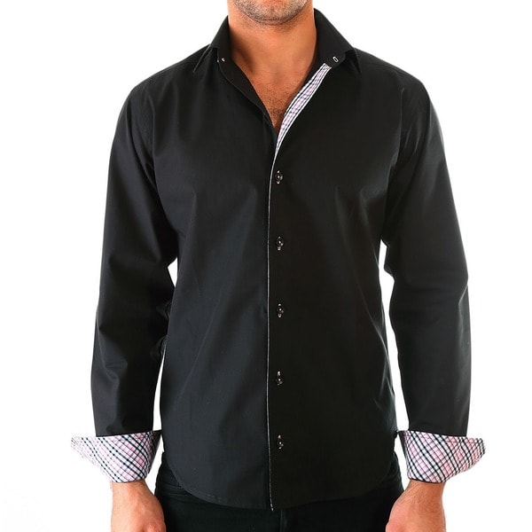 Luciano Mens Slim Fit Cotton Shirt by Vince Barbera Black 3XL Size(As Is Item)